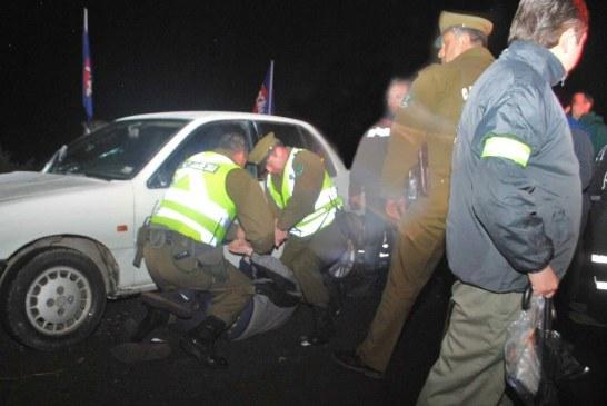 Conductor ebrio se negó al examen de alcotest, alcoholemia, escupió al medico y le encontraron marihuana en su vehiculo